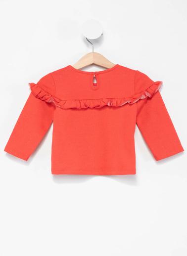 DeFacto Kız Bebek Fırfır Detaylı Sweatshirt Kırmızı